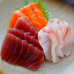 Sashimi mixte de saumon,...